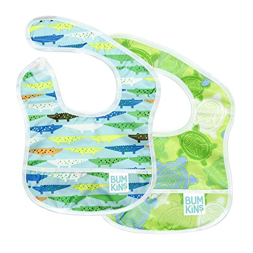 Bumkins Starter Bib, Baby Bib Infant, Waterproof, Washable, Stain and Odor Resistant, 3-9 Months, 2-Pack - Crocodiles & Turtles -