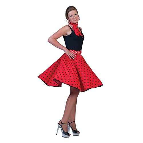 50s Rock n Roll skirt with necktie. Size 8-16. Red