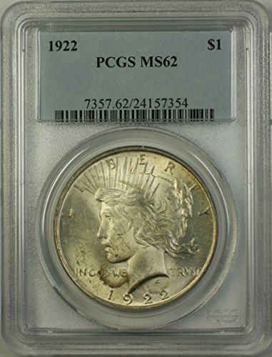 1922 Peace Silver Dollar Coin (ABR12-O) Light Toning $1 MS-62 PCGS
