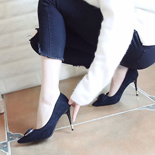 Shoes Tip The Fine 8Cm Port Elegant Stylish Ma Stitching Lady Heel Hair Women'S High Work Leisure 34 Shoes Black MDRW Single Followed Spring Shoes Light X7q1Uvxx