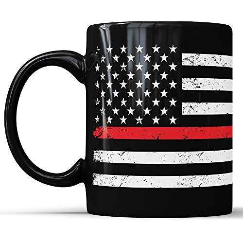 Red Lives Matter Mug Fire Department Coffee Cup Red Drinkware American Flag Stars Stripes Red Lives Gift Thin Red Line (11 oz)