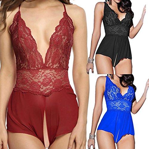 intimi Scollato Le LandFox Top Donne Blu Babydoll Completi Perizoma Lingerie Passione Della Vestito Sexy a8q15dxnx6