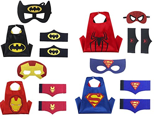 [Superhero Costume set for Boys- 1 set= 4 Capes, 4 Felt Masks, 4 Pairs of Felt Wristbands - For Birthday/Themed] (Iron Man 3 Costumes Kids)