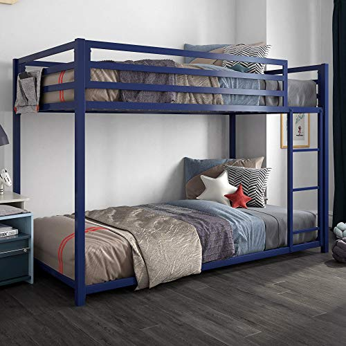- DHP 4303619 Miles Twin Metal Bunk Bed, Kid's Bedroom, Space-Saving Design, Blue,