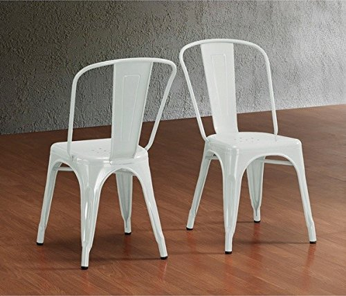 Anji Modern Furniture Modern Vintage White Metal Stackable Dining Side Chair with Backs (Set of 2) Tolix Kicthen ChairMatt White - White Cap Plastic Drain