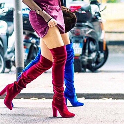 Damen Stiefeletten, SHOBDW Winter Frauen Oberschenkel Hohe Stiefel Über Den Knie Stiefel Stretch Flock High Heels Schuhe Rot