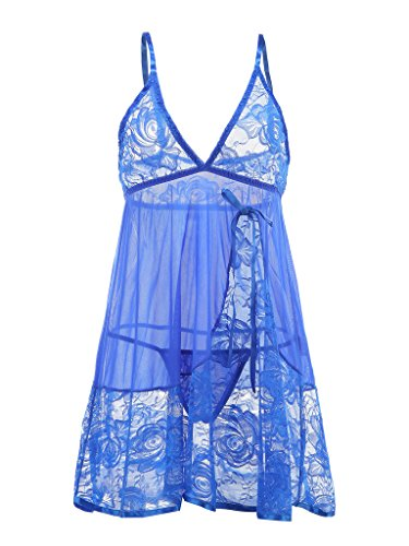 Vilania Women Sexy Lingerie Diaphanous Pajamas Halter Lace Splicing Mesh Erotic Sleepwear Babydoll And Chemise Underwear With G-string Blue,TXZ9038-Blue-2XL