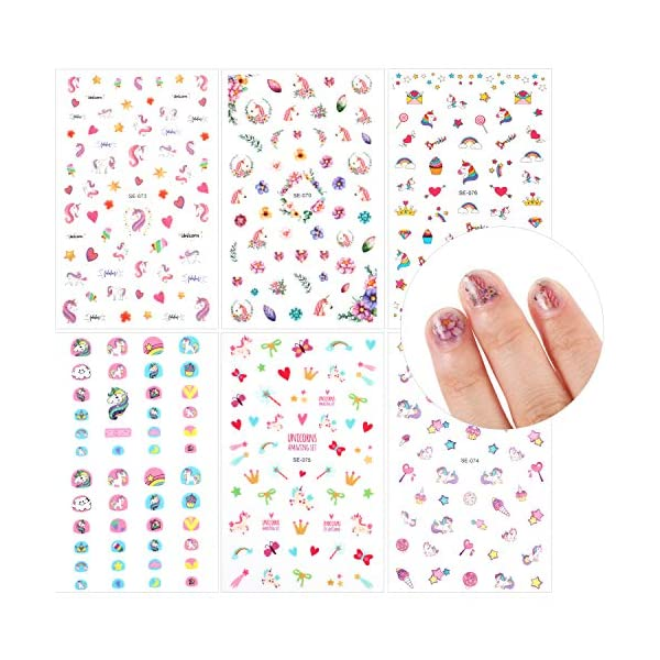 12 Sheets Unicorn 3D Nail Art Stickers Self-adhesive Nail Art Decals Nail Tip Sticker Tattoo Decorations for Birthday Party Gift Favors 5