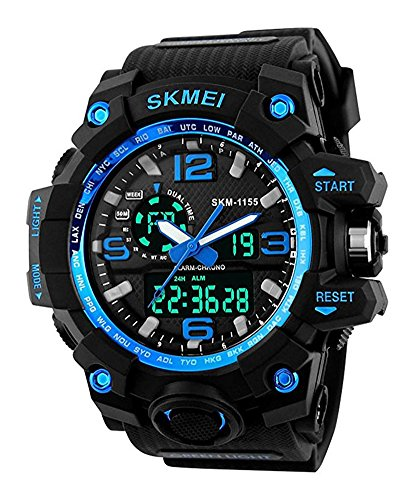 Mens Military Sport Digital Wrist Watch Kids Large Dual Dial Time EL Backlight Resin Band Watch (Mens El Analog Sport Watchs)