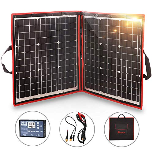 DOKIO 80W Solar Panel Kit 12V / 18V Flexible Foldable Mono Solar Panel Portable USB Kit Solar Panel (Solar 80 Panel)