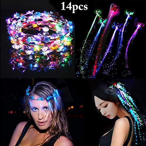 Coxeer LED Flower Crown, 7 PCS Led Flower Wreath Headband Luminous 10 Led Flower Headpiece Flower Headdress for Girls Women Wedding Festival Holiday Christmas Halloween Party (Crown + Lights Hair)