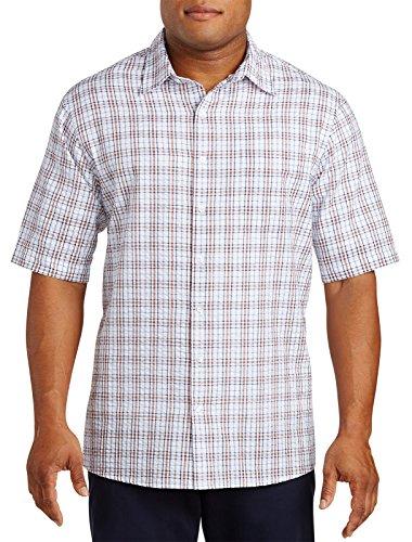 Harbor Bay Big & Tall Patterned Seersucker Sport Shirt Orange (Seersucker Big Shirt)
