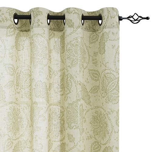 Paisley Scroll Printed Linen Curtains, Grommet Top - Medallion Design Jacobean Floral Printed Curtains Burlap Vintage Bedroom Curtain Panels (Sage, 50-inch x 95-inch, Set of Two)