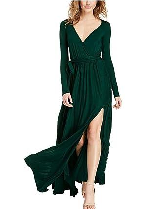 Damen Langarm Elegant Maxi Kleider V-Ausschnitt mit Schlitz Party ...