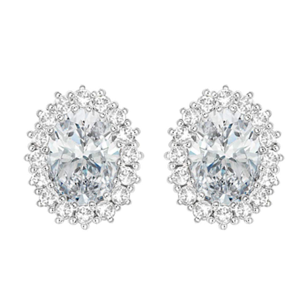 DTJEWELS 14K White Gold Plated Womens /& Girls 1.25 Ct Oval Shape Simulated Diamond Halo Stud Earrings