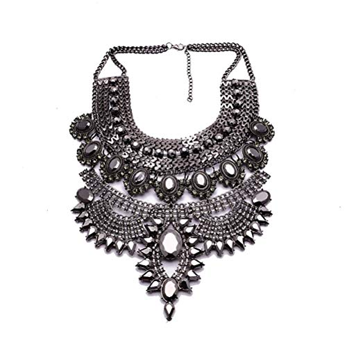NABROJ Vintage Sagging Droplets Statement Necklace, Black Bib Necklace & Pendants Costume Jewelry for Wedding Prom 1pc-HL23 Black