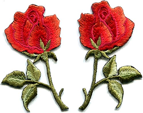 - Red roses pair flowers floral retro boho hippie embroidered appliques iron-ons patches new