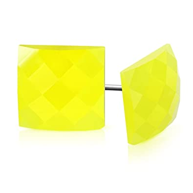 7b19e4443d0e1 Amazon.com: Stainless Steel 2 Color with Faceted Bright Yellow ...
