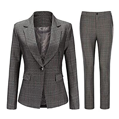 Women's Vintage 2 Piece Plaid Suit Set One Button Stylish Blazer and Pants: Clothing