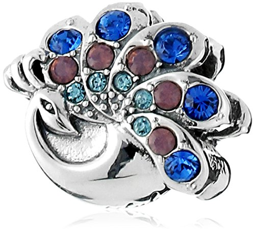 Chamilia Sterling Silver and Swarovski Crystal Beautiful Peacock Bead Charm