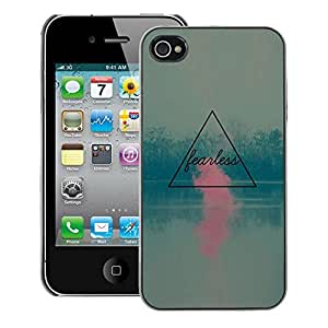 A-type Arte & diseño plástico duro Fundas Cover Cubre Hard Case Cover para iPhone 4 / 4S (Fearless Inspirational Pink Blue Nature)
