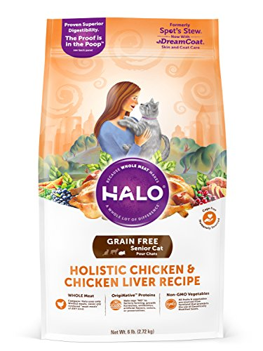 Halo Grain Free Natural Dry Cat Food, Senior Chicken & Chicken Liver Recipe, 6-Pound Bag