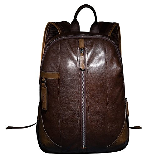 High Cattle Genuine Backpack Double Real Casual Coffee Grade Hide Bag Top Straps Oneworld Travel Quality Men's Leather FYXdU