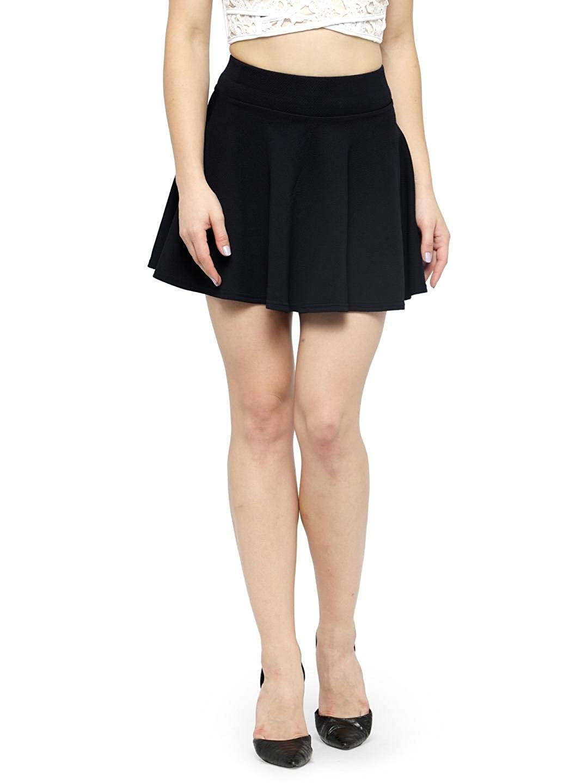 N-Gal Women's High Waist Flared Knit Skater Short Mini Skirt - NAY110