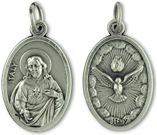 - Lot of 10 - Sacred Heart / Holy Spirit Medal - Silver Oxidized Die-cast - 1