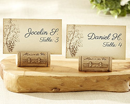 96 ''Maison du Vin'' Wine Cork Place Cards / Photo Holders with Grape Themed Place Cards by Kateaspen (Image #1)