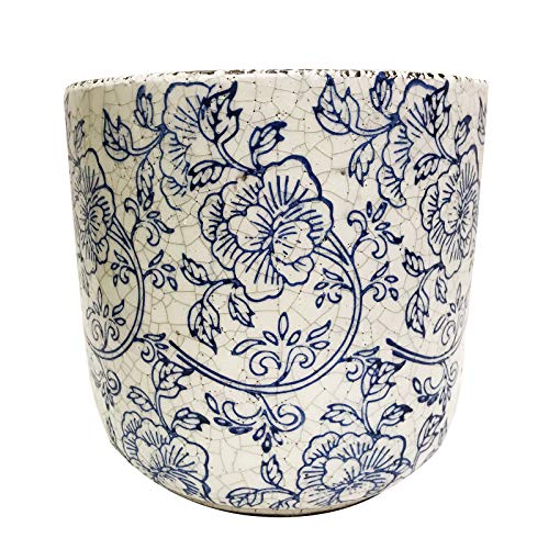 Old World Ceramic - Old World Ceramic Blue and White Pattern Round planters or Garden pots (Cylindrical Flower Print 7.2 inches Tall)