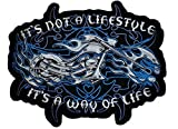 Unique, Large Size Motorcycle w/ Blue Fire Patch Badge 8 X 10 Inch Embroidered Iron on Sew Cool Look for Biker Trucker Rocker Chopper Jacket