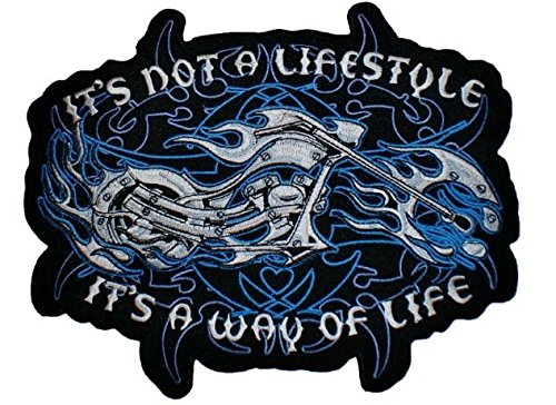 Blue Flame Motorcycle Large Patch Badge 8'' X 10'', Look Cool Embroidered Iron on Sew for Biker Trucker Rocker Chopper Jacket Jeans Cap Shirt by Crazy Patchy
