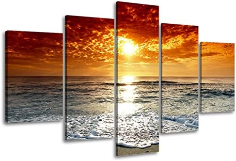 BEAUTIFUL ORANGE RED SUNSET SEASCAPE BOX CANVAS PRINT WALL ART PICTURE
