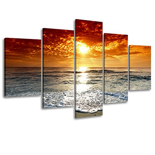 5 Piece Canvas Set (Ocean Pictures, SZ 5 Piece Beautiful Sunset Canvas Wall Art, Cloudy Seascape Canvas Prints for Living Room, Ready to Hang, 1
