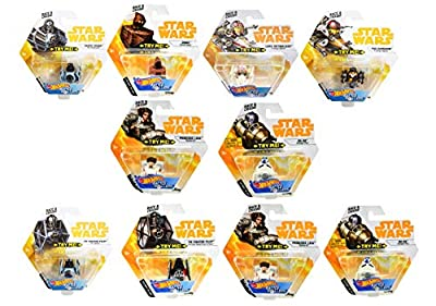Set of 10 Hot Wheels Star Wars Battle Rollers Starship Die Cast Vehicles Character Collectible Action Toy Figures (Assortment F)