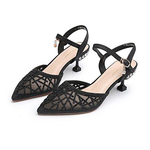 Finos Decoración EU de De De Alto De Y 39 Cabeza Apuntado Zapatos tacón 697 Zapatos Color Diamantes Primavera Ly Verano DALL Mujer Tacones Sandalias De Imitación Tacones 6cm Tamaño Negro CN Oro UK6 wXfPq58