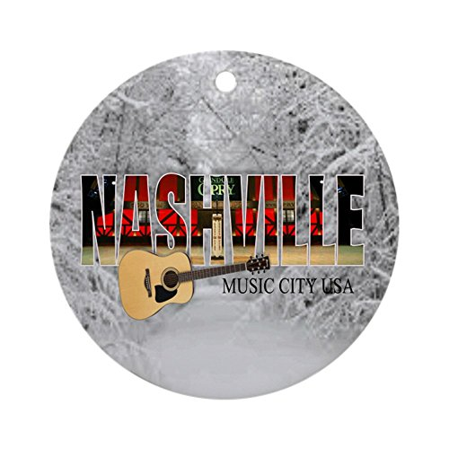 CafePress Nashville Music City-CO1 Round Holiday Christmas Ornament]()