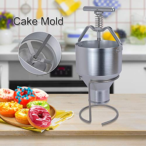 Welljoin Manual Stainless Steel Donut Depositor Dropper Plunger Dough Batter Dispenser Hopper with Stand for Home, Restaurants, Cafeterias, Bakeries by well join (Image #1)
