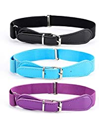 Kids Adjustable Elastic Belts for Toddler, Pack of 3 Stretch Belts for Boys and Girls