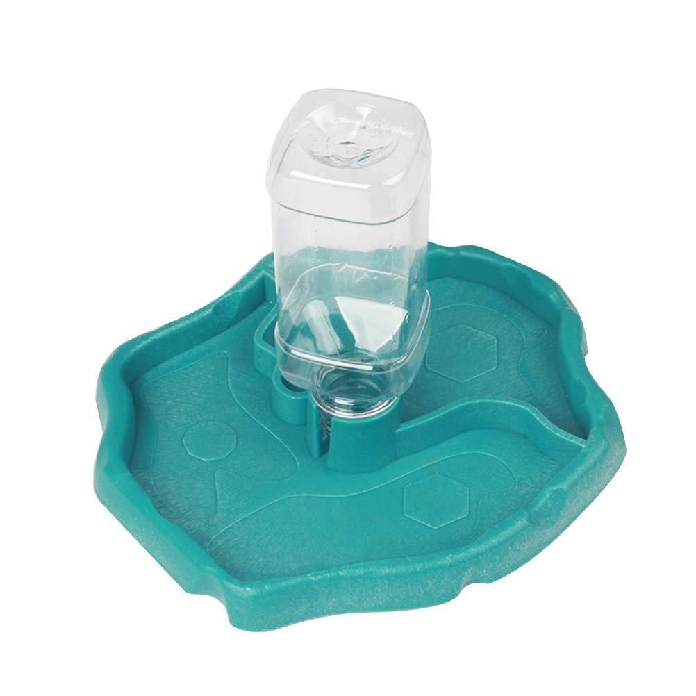 Blue POPETPOP Reptile Water Dispenser-Reptile Waterer Automatic Refilling Water Dispenser Tortoise Lizard Turtle Feeding Water Bowl with Bottle