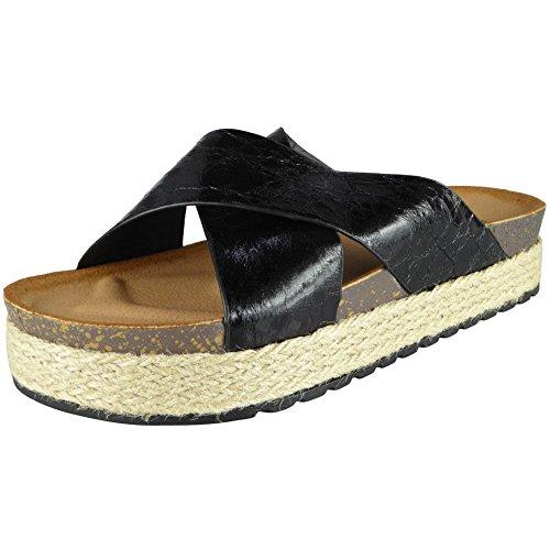 chaussures 36 Noir pantoufles Flats 41 LoudLook taille diapositives brillantes Sliders Mesdames Comfy w7C4nBFq
