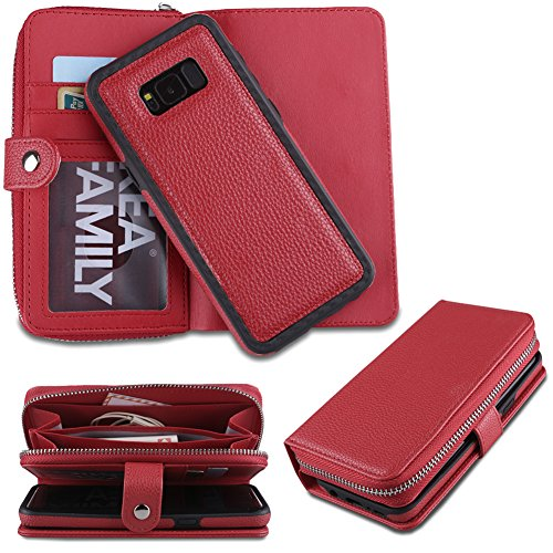 Eloiro Samsung Galaxy S8 Plus Zipper Wallet Case, PU Leather Button Closure Shell Detachable Folio Flip Back Cover Protective Soft Skin with Cash and Card Slots & Wrist Strap for Galaxy S8 Plus- Red ()