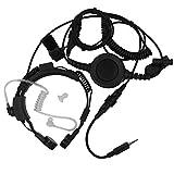 AOER Military Grade Tactical Throat Mic Headset/earpiece with BIG Finger PTT for Yaesu Vertex VX-6R 6E 7R 7E Two Way Radio Walkie Talkie 1pin
