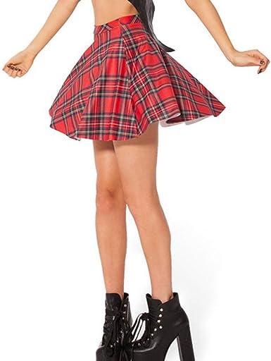 Yying Sexy Falda Skater Roja de Galaxy para Mujer Falda Plisada ...