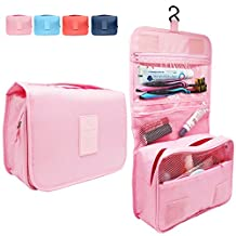 Hanging Toiletry Bag, Travel Organizer for Men and Women (Light Pink)