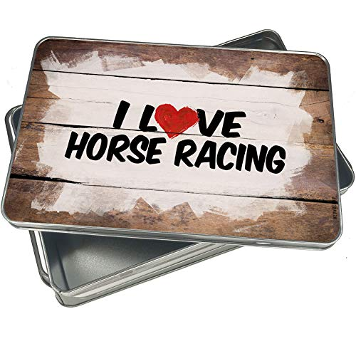 NEONBLOND Cookie Box I Love Horse Racing Christmas Metal Container -