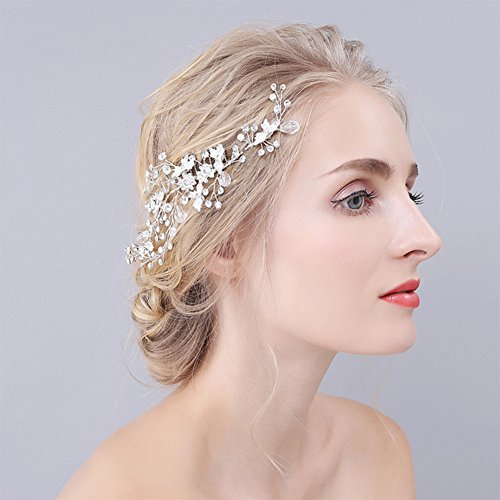 Crystal Handmade bridal hair combs Wedding Headpiece Leaf Hair Pin Hair Accessories for girl and women by Drhob