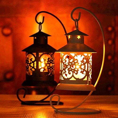European Decor (Vintage Moroccan Candle Lantern With Scented Candles - European Style Table Lantern (Black + Lavender Scented Candles ))