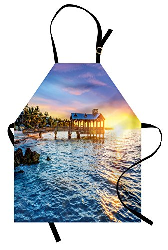 Ambesonne United States Apron, Pier at Beach in Key West Florida USA Tropical Summer Paradise, Unisex Kitchen Bib Apron with Adjustable Neck for Cooking Baking Gardening, Pale Blue Yellow Green (Key West Fabrics Tropical)